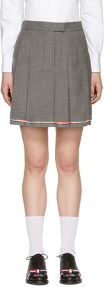 Thom Browne Grey Pleated Miniskirt $1,050 thestylecure.com