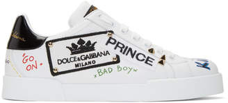 Dolce & Gabbana White Portofino Prince Low-Top Sneakers