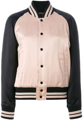 Saint Laurent striped trim bomber jacket