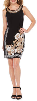 Studio 1 Sleeveless Floral Sheath Dress-Petite