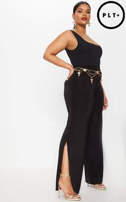 PrettyLittleThing Plus Black Slinky High Waist Wide Leg Trousers