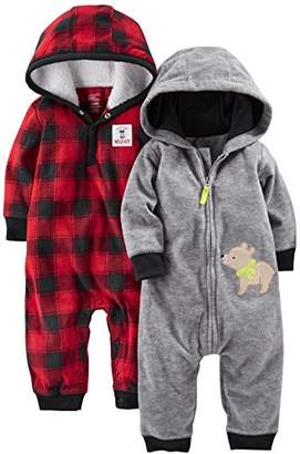 Carter's Simple Joys by Baby Boys' 2-Pack Fleece Hooded Jumpsuits