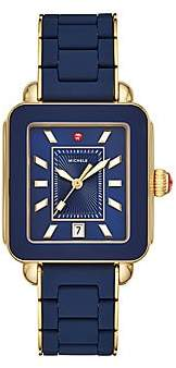 Michele Women's Deco Sport Two-Tone Blue Wrapped Silicone & Goldplated Sterling Silver Bracelet Watch