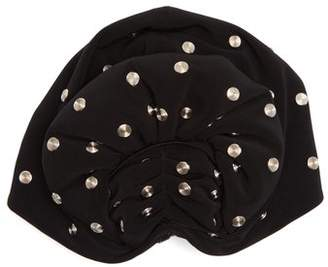 Norma Kamali Stud-embellished fan turban hat