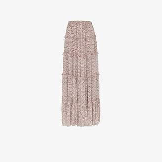 Amiri tiered silk front split skirt