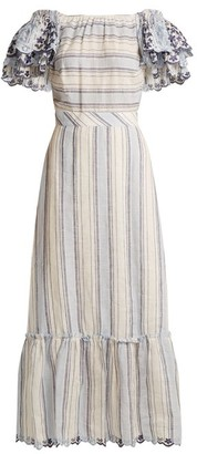 Gül Hürgel Gul Hurgel - Ruffled Sleeve Striped Linen Dress - Womens - Blue Stripe