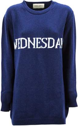 Alberta Ferretti wednesday Dress In Blue And White Virgin Wool And Cashmere.