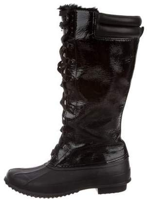 Joie Lace-Tie Mid-Calf Boots Black Lace-Tie Mid-Calf Boots