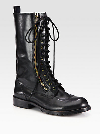 Marc by Marc Jacobs Leather Lace-Up Zipper Boots