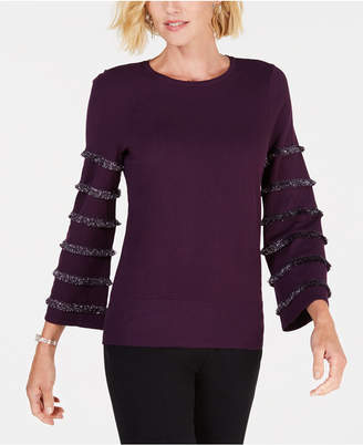 Alfani Petite Tiered Fringe Pullover Sweater