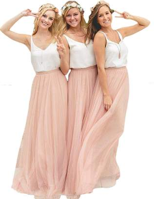 D.W.U Two Piece Boho Bridesmaid Dresses Long Prom Gowns US