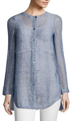 Eileen Fisher Linen-Blend Mesh Shirt $208 thestylecure.com