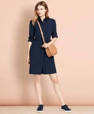 Brooks Brothers Dobby-Dot Cotton Shirt Dress