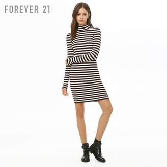 Forever 21 (フォーエバー 21) - Forever 21 ボーダーハイネックタイトワンピース
