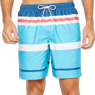 ST. JOHN'S BAY Blue Stripe Stripe Swim Shorts