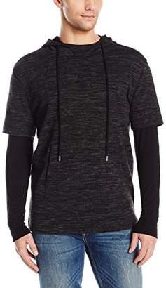 ATM Anthony Thomas Melillo Men's Mixed Media Double Sleeve Hoodie Sweater