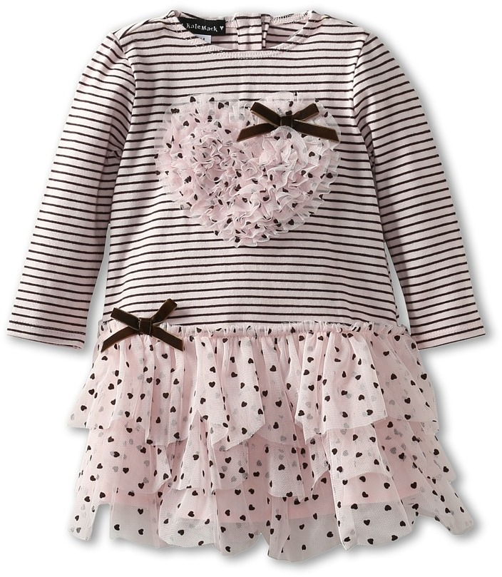 Kate Mack Confetti Hearts Baby Dress (Infant) (Pink) - Apparel