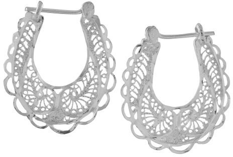 Sterling Silver Filigree Hoops
