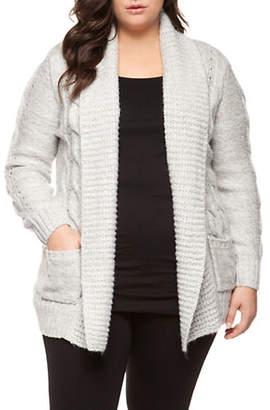Dex Plus Long-Sleeve Open Sweater Cardigan