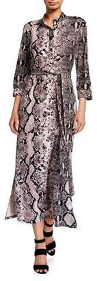 Melissa Masse Belted Snake-Print Pope Collar Brushed Jersey Shirtdress