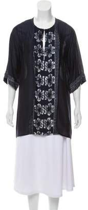 Oscar de la Renta Printed Three-Quarter Sleeve Tunic