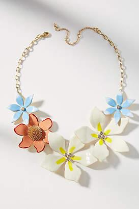 Anthropologie Plumeria Bouquet Bib Necklace