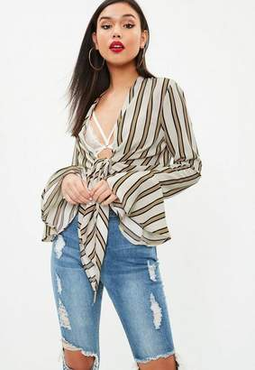Missguided Beige Striped Flared Sleeve Knot Front Blouse