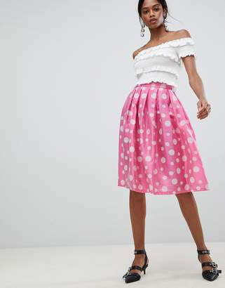 Liquorish Polka Dot Pleated Prom Skirt
