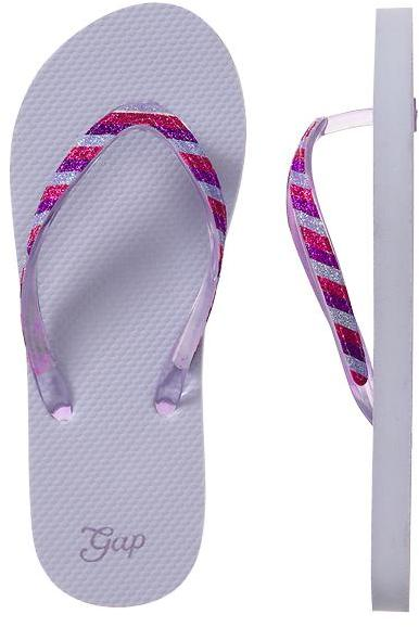Gap Striped glitter flip flops