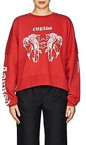 """Marcelo Burlon County of Milan Women's """"Cupido"""" Cotton Fleece Sweatshirt - Red"""