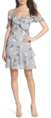 THML Printed Cold Shoulder Ruffle Dress