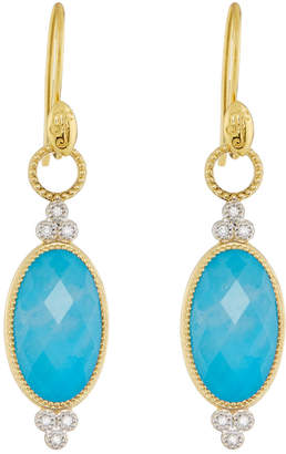 Jude Frances 18K Provence Oval Drop Earrings, Lapis