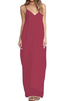 e757d095c99 Zilcremo Women Summer Maxi Loose Cami Holiday Beach Evening Party Dress XL