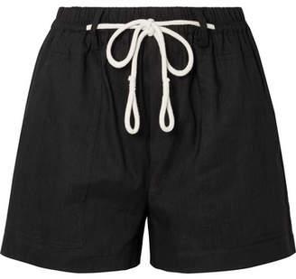 Vince Rope-trimmed Linen-blend Shorts - Black