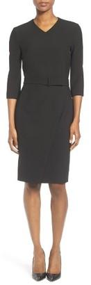 Women's Boss Dylea Belted Faux Wrap Sheath Dress $575 thestylecure.com