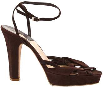 Michel Perry Brown Suede Sandals