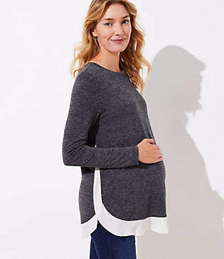 LOFT Maternity Flounce Mixed Media Shirttail Top