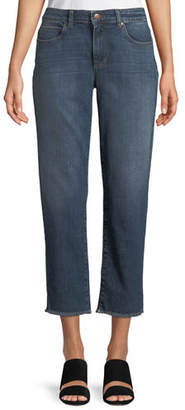Eileen Fisher High-Rise Slim Frayed-Hem Ankle Jeans, Petite