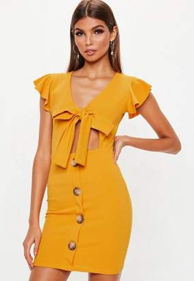 Missguided Mustard Tie Front Button Down Dress