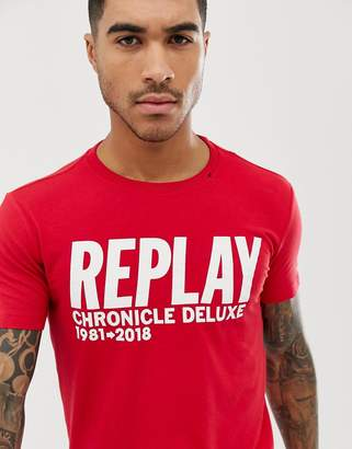 Replay logo text crew neck t-shirt in red