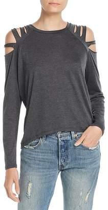 Elan International Cold-Shoulder Slit Top