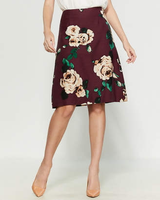 Samantha Sung Peony By Chloe Amber Queen Print A-Line Skirt