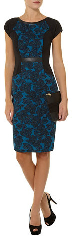 Dorothy Perkins Billie and Blossom teal floral pu ponte pencil