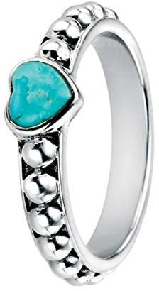 N. Elements Silver Sterling Silver Turquoise Heart Ring on Oxidised Ball Shank - Size Q