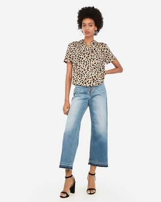 Express Leopard Print Short Sleeve Button-Front Pocket Shirt