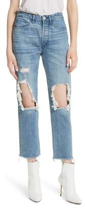 3x1 NYC W3 Higher Ground Ripped Crop Boyfriend Jeans