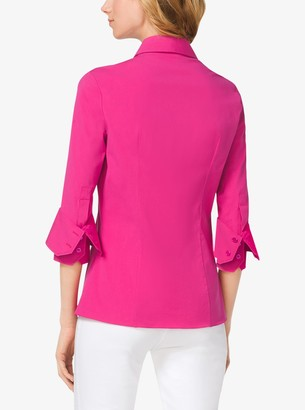 Michael Kors Double-Cuff Cotton-Poplin Shirt