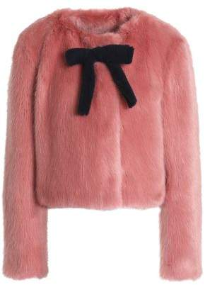 Shrimps Bow-Embellished Faux Fur Jacket