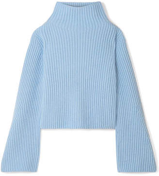 Stella McCartney Ribbed Cashmere And Wool-blend Turtleneck Sweater - Light blue