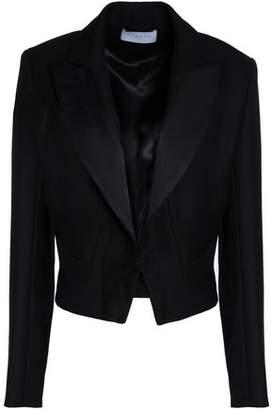 Sandro Cropped Satin-Trimmed Crepe Jacket